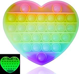 Luximi - Pop IT Fluo Coeur - Fidget Toy - Popit Jeu Anti Stress Enfant Adulte - Arc en Ciel - Push Pop Bubble - Jouet sens...