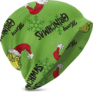 LREFON Green Grin-ch Merry Grin-chmas Niños Casual Beanie Hat Winter Warm Knit Ski Beanies Skull Cap