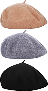 Hestya 3 Pieces Beret Hat French Style Beanie Cap Solid Color Winter Hat Women Girls Casual Use