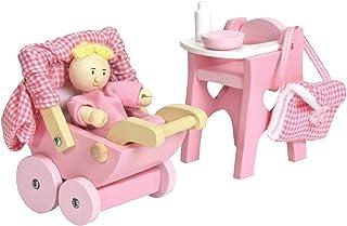 Babyset för dockhus med barnstol, barnvagn, väska, flaska