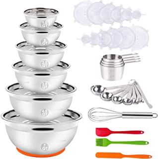 Mixing Bowls with Lid Set, 35PCS Kitchen Utensils Stainless Steel Nesting Bowls, Measuring Cups and Spoons, 12 Reusable Si...