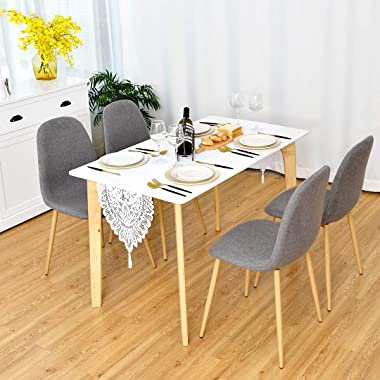 Giantex Set of 2 Kitchen Dining Chairs, Easily Assemble Modern Fabric Cushion Seat Chair w/Metal Legs, Mid Century Armless Ch