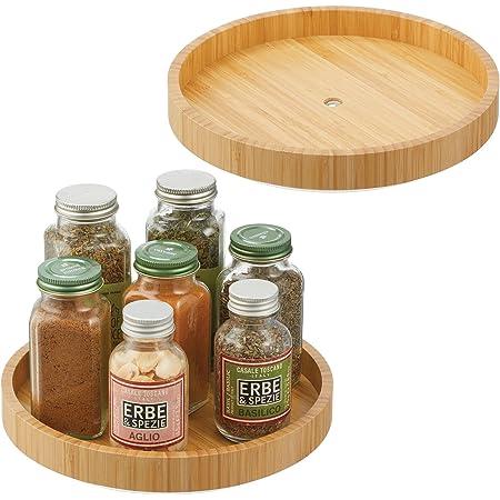 mDesign rangement à épices rotatif en bambou (lot de 2) – plateau de rangement écologique pour sel, poivre, conserves, etc. – rangement de cuisine rond pour buffet, frigo ou placard – couleur nature