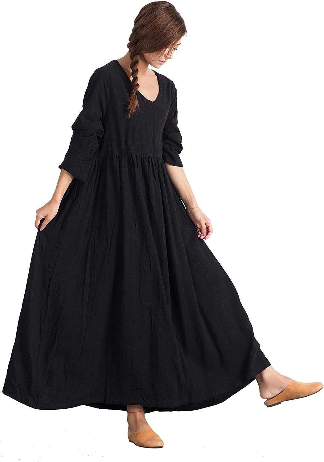 OverSize Women's Linen Cotton Loose Dress Casual Caftan Large Clothing a16