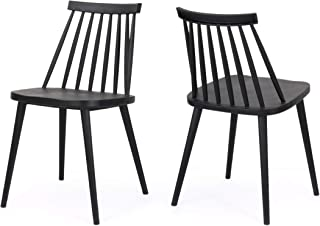 Christopher Knight Home Phoebe Hume Farmhouse Spindle-Back Dining Chair (Set of 2), Black, 19.25 inches deep x 17.00 inches wide x 30.25 inches high