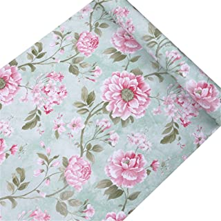 Vanyear Peony Self Adhesive Wallpaper Contact Paper Floral Removable Shelf Liner Drawer Wall Sticker 17.7 inch by 10 Feet