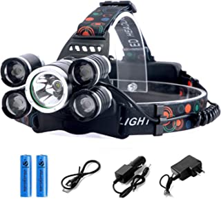 [Upgraded] LED Headlamp Flashlight, 4 Modes Adjustable Zoomable Focusing Headlight, Ultra Bright 5 Head Light with 18650 Rechargeable Batteries, IPX-5 Waterproof for Night Camping Fishing