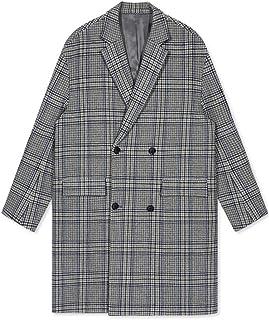dea93bad09d2d6 Cappotto di lana Cappotti Cappotto di lana da Uomo Giacca a Vento Lunga con  Collo Piatto