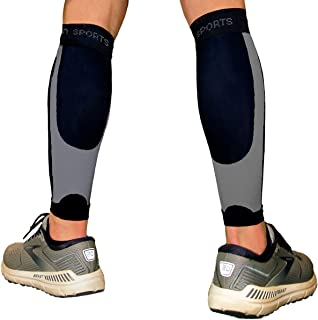 B-Driven Sports Calf Compression Sleeve for Shin Splint, Pain and Recovery - Leg Relief and Support - Running, Cycling, Basketball Football - Black 2XL 1 Pair