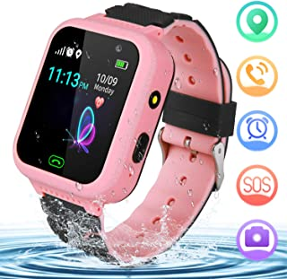 YENISEY Kids Smart Watch for Children GPS SOS Tracker Smartwatch, Waterproof with Chat Call Camera Alarm Clock Game Touch Screen Birthday Gifts for Girls and Boys (Pink)