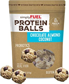 simplyFUEL Chocolate Almond Coconut Protein Balls | 1 Pack of 12 Balls | Gluten Free | Probiotic + High Protein Whole Food Snack | Certified Organic Ingredients | 8 g Whole Food Protein