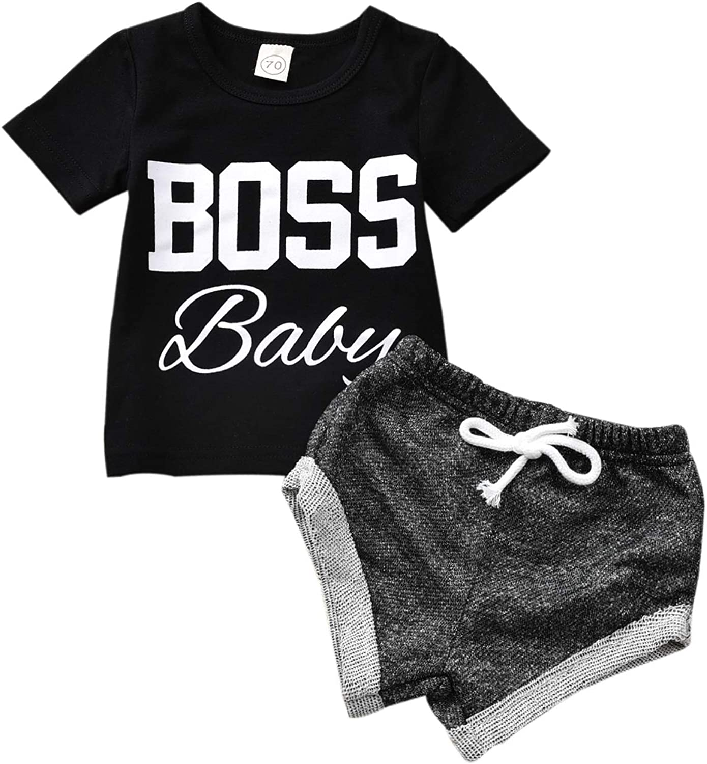 Baby Boys' Shorts Sets, Toddler Baby Infant Boy Clothes Boss Baby Tops +Mesh Pants Outfit Set