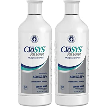 CloSYS Silver Fluoride Antimicrobial Mouthwash, 16 Ounce (Pack of 2), Gentle Mint, For Adults 55+, Alcohol Free, Dye Free, pH Balanced, Fights Cavities and Strengthens Tooth Enamel