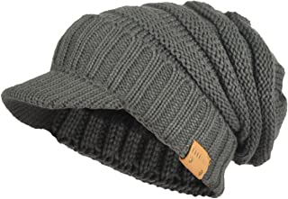 Mens Womens Thick Fleece Lined Knit Newsboy Cap Slouch Beanie Hat with Visor