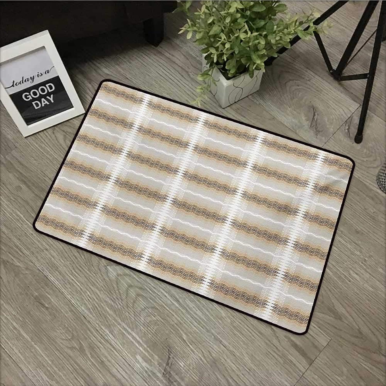 Bathroom Anti-Slip Door mat W35 x L59 INCH Abstract,Ethnic Inspirations in African Arabic Culture Motifs Arrangement Ornamental,Beige Brown White Easy to Clean, Easy to fold,Non-Slip Door Mat Carpet
