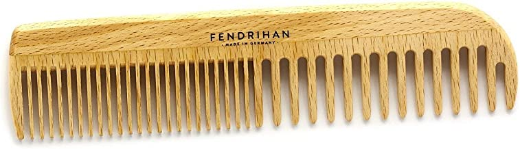 """Fendrihan Beechwood Men's Comb with Rounded Teeth 7"""" (Made in Germany)"""