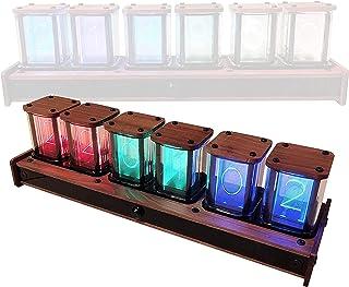 HTDHS Nixieチューブクロックシミュレーション、LEDデジタルクロック赤外線センサーボイスタイムキーピング、疑似グローチューブデジタルアラーム時計、デスクトップデコレーション、ブラッククルミ (Color : Black Walnut)
