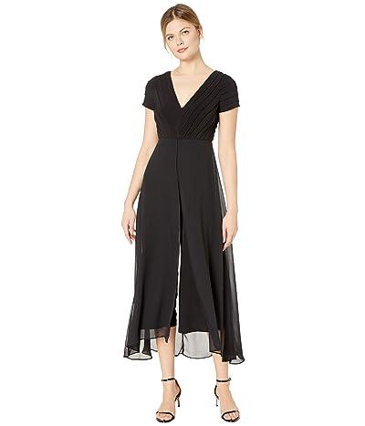 Adrianna Papell Pin Tucked Jersey Jumpsuit w/ Chiffon Overlay (Black) Women
