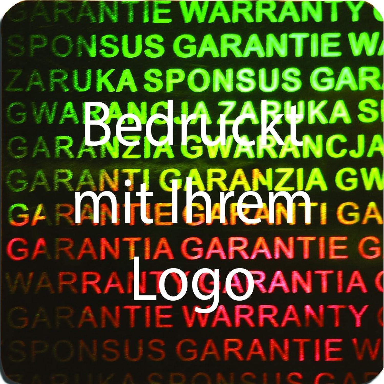 EtikettenWorld BV, EW-H-3100-67-tw-700, 700 Stück Hologrammaufkleber, 2D, 20x20mm grünfarbige Metallfolie, bedruckt in weiß mit Ihrem Wunschtext Logo, Hologramm Etiketten, selbstklebend, Hologramm Aufkleber, Sicherheitssiegel, Garantiesieg