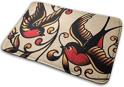 Rectangular Front Door Mat Outdoor Indoor Entrance Best Sailor Jerry Swallow Tattoo Door mat Durable Heat-Resistant Non-Slip Carpet Size 23.6x15.7inch