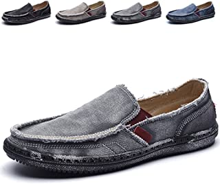 CASMAG Mens Casual Cloth Shoes Canvas Slip on Loafers Leisure Vintage Flat Boat Shoes