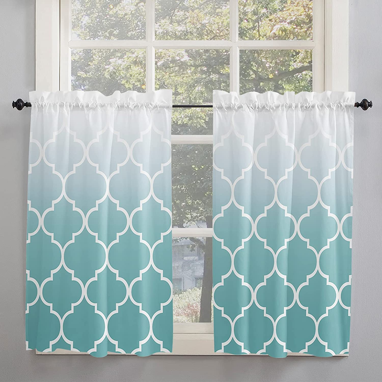 Cyan Turquoise Moroccan Geometric Super sale Ombre Kitchen Max 82% OFF Inch 54 Curtains