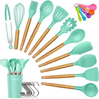 Silicone Cooking Utensils Kitchen Utensil Set, Bamboo Wooden Handles Cooking Tools Turner Tongs Spatula Spoon for Nonstick Cookware - Best Kitchen Tools Gadgets (Green-12 PCS)