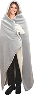 Posh Home Hooded Jersey Knit Reversible Sherpa Throw Blanket, 50