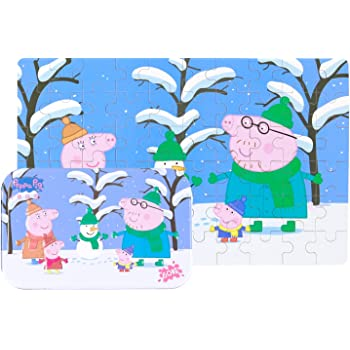 Yale Pink Pig Snow Kid 60 Piece Jigsaw Puzzle Game for 3-8 Age,Portable Box Pack Toy