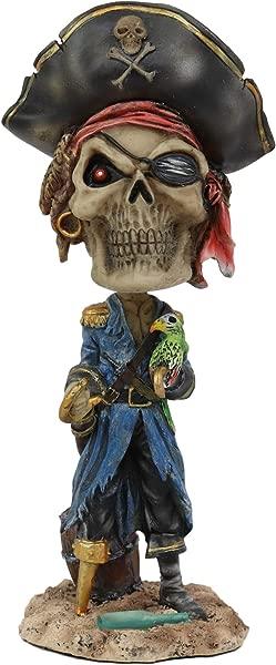 Ebros Gift Day Of The Dead Pirate Buccaneer Captain Skeleton With Parrot Bobblehead Figurine 7 5 Tall Halloween Bobble Head Skulls Skeletons Macabre Ossuary Themed Statue Decor Sugar Skull