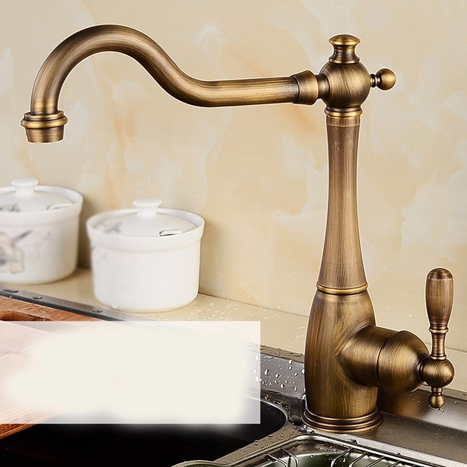 AWXJX European style retro style and all copper hot and cold gold plated sink water tap