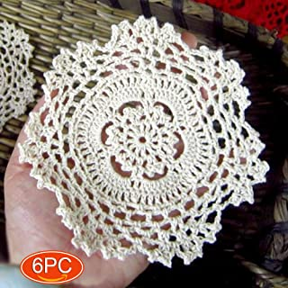 Elesa Miracle 5 Inch 6pc Handmade Small Round Crochet Cotton Lace Table Placemats Doilies for Cup / Glass Value Pack, Snowflake, Beige (5 Inch Beige)