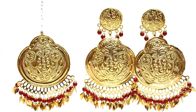 Maroon Pippal Patti Jadau Earings Tikka Set Bridal Punjabi Indian Jewelry Wedding Earrings Tikka Muslim Jewelry Set