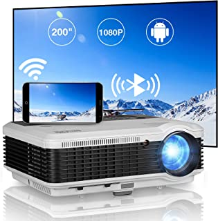 LED Smart WiFi Video Projector with Bluetooth, Wxga LCD HD Ceiling Rear Movie Projectors Support 1080P Zoom Keystone, Wire...