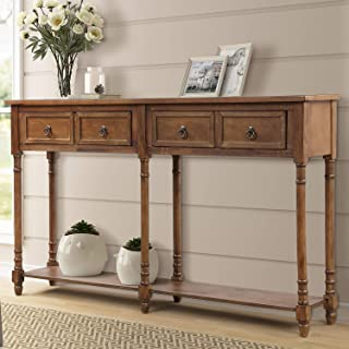 P PURLOVE Console Table Entryway Table with Drawers Sofa Table with 2 Drawers and Long Shelf (Retro Walnut)