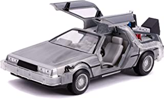 Jada Toys Back to The Future Part II (1989) Movie Delorean Brushed Metal Time Machine with Lights (Flying Version 1/24 Diecast Model Car
