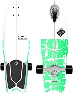 Street Surfing Surfskate Shark Attack Self Propelled Longboard Skateboard, 30 in. by 9 in. Psycho Green Surf Inspired Design, Durable ABEC 9 Wheels.