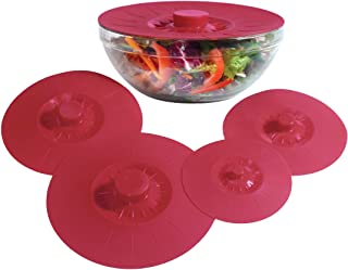 Silicone Bowl Lids Red, Set of 5 Reusable Suction Seal Covers for Bowls, Pots, Cups. Food Safe Natural grip, interlocking ...