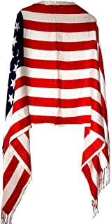 Women`s Winter American Flag Fringed Shawl Red White And Blue Pashmina Wrap