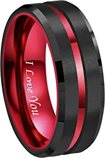 RoyalKay 8mm Red Black Tungsten Wedding Band Ring Men Women Matte Finish Red Grooved Engraved I Love You Comfort Fit Size 6 to 16