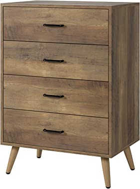 HOMECHO 4-Drawer Dresser, Rustic Wood Chest of Drawers for Bedroom, Dresser Chest with Wide Storage Space, Tall Nightstand Mu