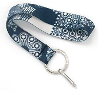Buttonsmith Denim Lace Wristlet Key Chain Lanyard - Short Length with Flat Key Ring and Clip - Made in The USA
