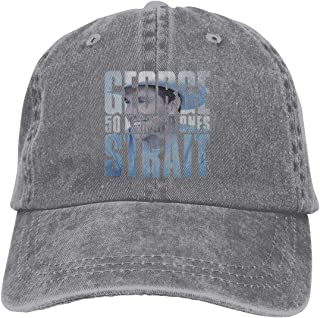 Unisex Men's&Womens Denim Adjustable Dad Cap Print with George Strait 50 Number Ones Washed Dyed Caps