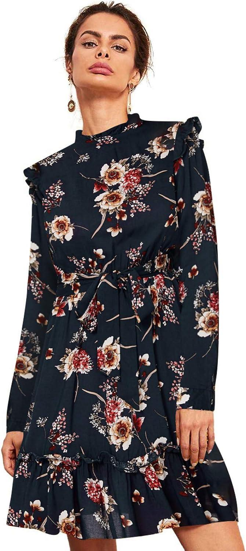 Floerns Women's Long Sleeve Ruffle Trim Self Tie Floral Print Short Dress