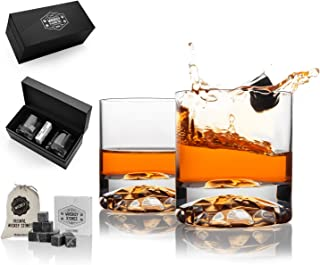 Hediyesepeti Chicago Whiskey Set with Diamond Look Bottom and Whiskey Stones, Whiskey Gift Set, 12pcs Whiskey Stones with ...