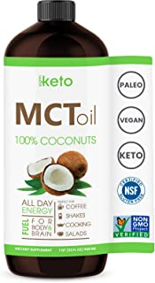 Keto MCT Oil - Non GMO Project Flavorless Coconuts - Gluten Free Certified - Paleo - Kosher - Halal - BPA Free 32oz