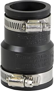 EVERCONNECT 4829 Flexible Pvc Reducing Rubber Coupling with Stainless Steel Clamps, 1-1/2 x 1-1/4 Inch, Black
