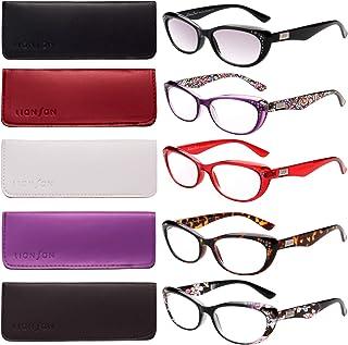 a19d233315b0 LianSan 5-Pack Fashion Designer Cat Eye Reading Glasses Women Reading  Eyeglasses Includes Sun Readers
