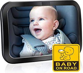 Espejo Retrovisor Bebé para Vigilar al Bebé en Coche, OMorc 360° Ajustable Irrompible Interior para Silla Trasera de Bebé/Asientos de Niños Orientados Hacia Atrás 100% Inastillable Espejo Coche Bebe