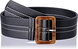 Jaggar Women's Stitch Leather Belt, Black, 0.5/1 US